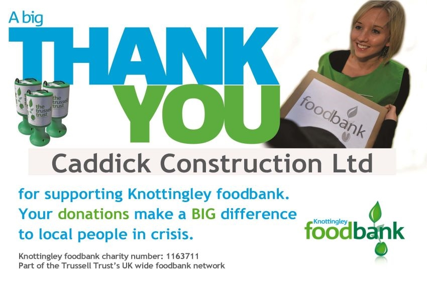Caddick Construction supports local foodbank