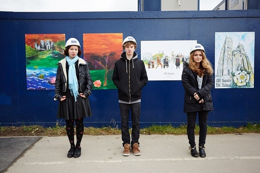 Caddick Construction unveil student artwork at Vangarde Shopping Park
