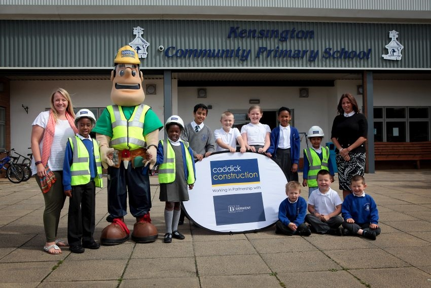 Construction team from Liverpool Shopping Park  conduct site safety talks at local schools