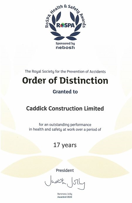 RoSPA Order of Distinction Gold Award for health and Safety performance