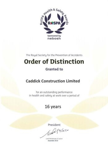 Caddick Construction awarded Order of Distinction after 16 consecutive Golds